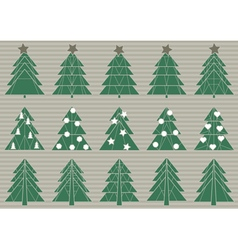 set of origami Christmas trees vector image
