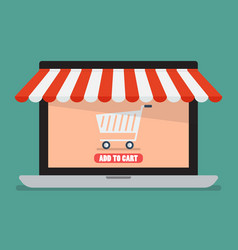 Shopping online by laptop vector