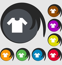 T-shirt icon sign symbols on eight colored buttons vector