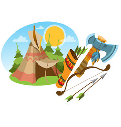 Tepee traditional accommodation forest indians vector