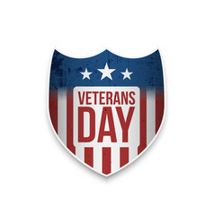 Veterans day shield with text vector