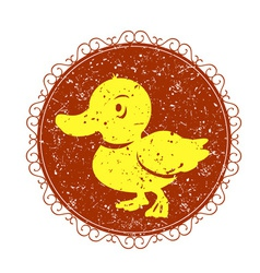 Vintage sign with duck vector