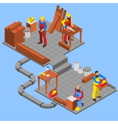 Woodwork People Composition vector image vector image