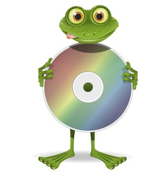Frog and cd vector