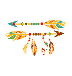 Two decorative arrows with feathers native indian vector