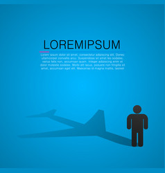Person silhouette with shadow in form of airplane vector