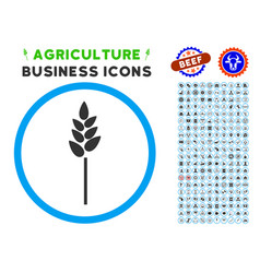 Wheat ear rounded icon with set vector