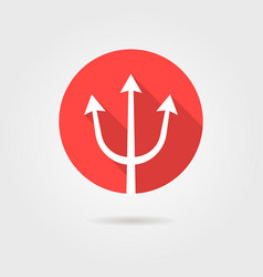 red trident icon with long shadow vector image