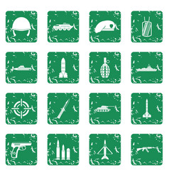 military icons set grunge vector image