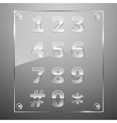 Set of transparent glass numbers vector