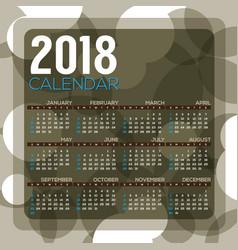 2018 dark green circle pattern printable calendar vector