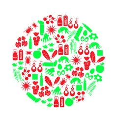 Allergy and allergens red and green icons set vector