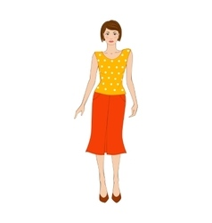 Woman in yellow blouse and orange skirt flat icon vector