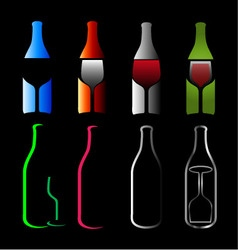 Bottles and glasses- spirits vector