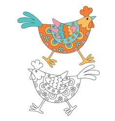 Funny cartoon hen vector