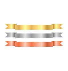 Gold silver bronze ribbons with texture vector