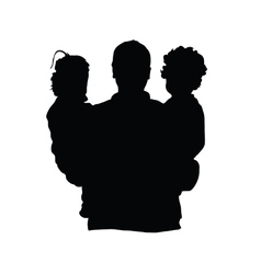 father with children silhouette vector image