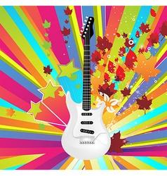 Autumn guitar icon vector