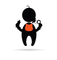 Baby holding a bottle silhouette vector