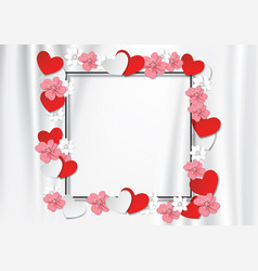 black frame with flowers and heart on white cloth vector image vector image