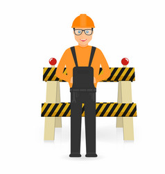 builder in overall and in hard hat under vector image