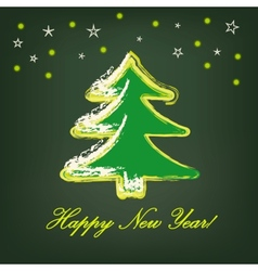 Christmas tree on dark green background vector image
