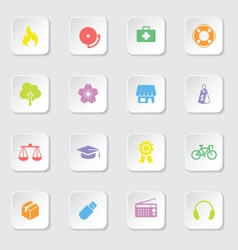 Colorful web icon set 6 on white rounded rectangle vector