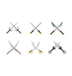 cross sword icon set flat style vector image