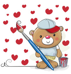 cute cartoon artist teddy bear vector image vector image