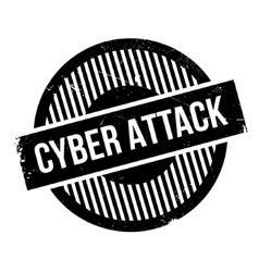 Cyber attack rubber stamp vector