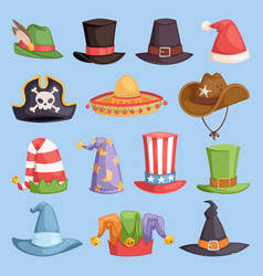different funny hats for party and holidays vector image vector image