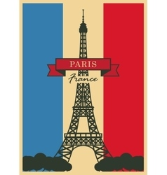 Eiffel Tower against the French flag vector image vector image