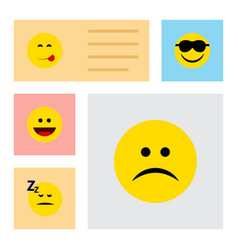 Flat icon face set of sad asleep happy and other vector