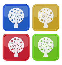 Four square color icons tree with branches vector