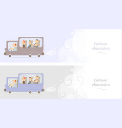 funny bus web banner or booklet vector image vector image