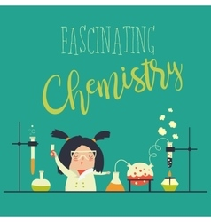 Girl working in the chemistry laboratory vector