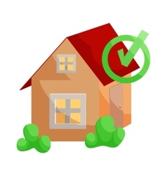 House with approval checkmark icon cartoon style vector