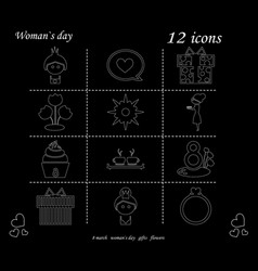 i love you womens doodle 12 icon in set of womens vector image vector image
