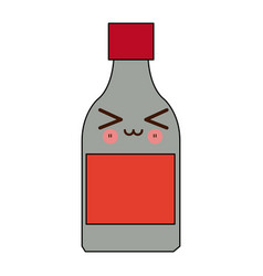 Kawaii medicine bottle icon health vector