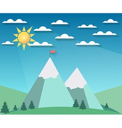 Landscape in a flat style with sun vector image vector image