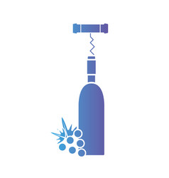 Line wine bottle with corkcrew and grape fruit vector