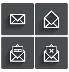Mail icons Mail spam symbol Delete letter vector image vector image