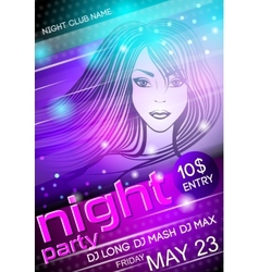 Night party sexy girl poster vector image vector image