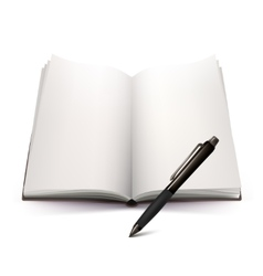 Open Notebook And Pen 3d Design vector image