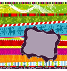 scrapbook christmas patterns greeting card for des vector image vector image