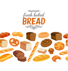 Seamless border with bread vector