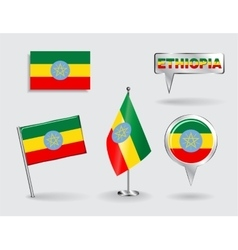Set of ethiopian pin icon and map pointer flags vector