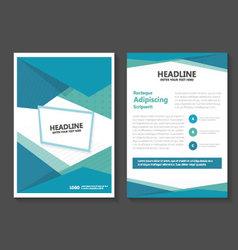 Triangle blue green leaflet brochure flyer set vector