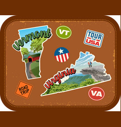 vermont virginia travel stickers vector image