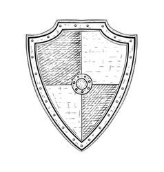 viking shield hand drawn sketch vector image